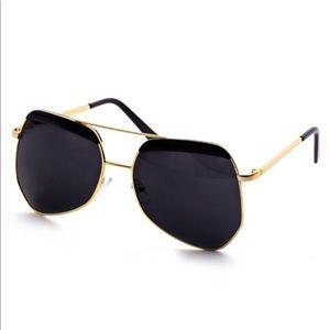 Gold Frame Double Bridge Black Lens Sunglasses